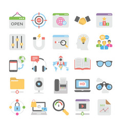 seo and digital marketing colored icons 10 vector image
