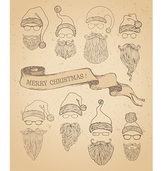 Set of retro santa hats beards moustache and vector