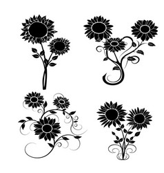 Set of sunflowers silhouette 2 vector