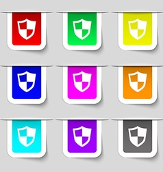 Shield icon sign Set of multicolored modern labels vector