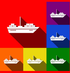 ship sign set of icons with vector image