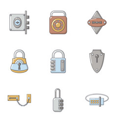 Shut icons set cartoon style vector