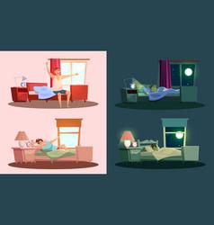 Sleep and awakening flat set vector