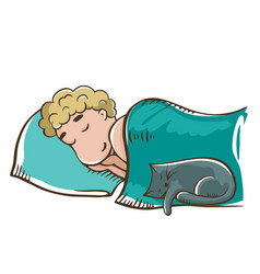 Sleeping boy with cat vector