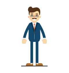 Smiling adult manager character in flat design vector