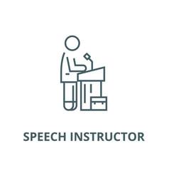 Speech instructorlecturer line icon vector