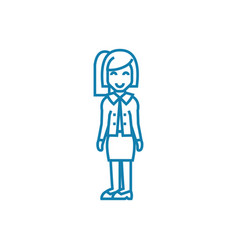 successful businesswoman linear icon concept vector image