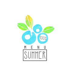 summer menu logo element for healthy food and vector image