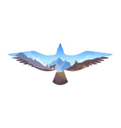 survival in the wild mountain landscape in eagle vector image
