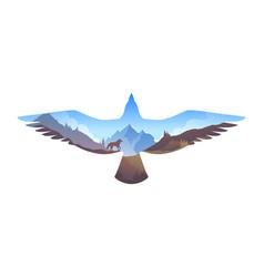 Survival in wild mountain landscape in eagle vector