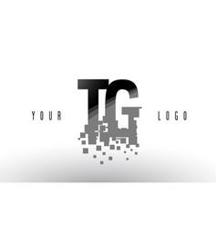 Tg t g pixel letter logo with digital shattered vector