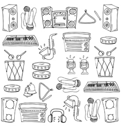 Theme music tools in doodle vector