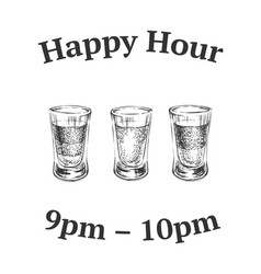 three kinds alcoholic drinks in shot glasses vector image