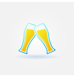 two glasses beer bright icon vector image