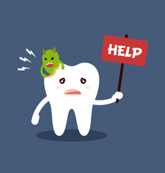 Unhealthy dental caries tooth character with text vector