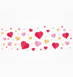 valentines day red and gold paper cut heart shape vector image
