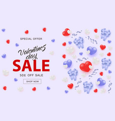 valentines day sale banner with hearts and ribbon vector image