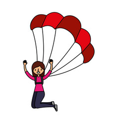 Young woman with parachute vector