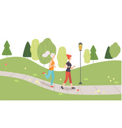 young women running jogging in park girls doing vector image