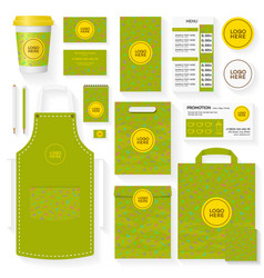 coffee shop identity template set green color vector image