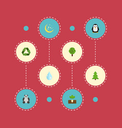 flat icons emperor wood tree and other vector image