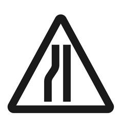 Road narrows ahead sign line icon vector