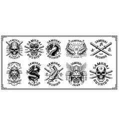 set of samurai emblems for white background vector image