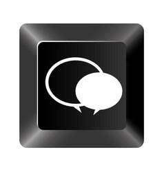 black button round chat bubbles icon vector image