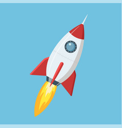 flying cartoon rocket in flat style isolated on vector image vector image