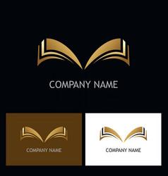 gold open book logo vector image vector image