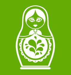 matryoshka icon green vector image