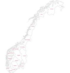 Outline norway map vector