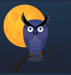 owl moon cartoon vector image