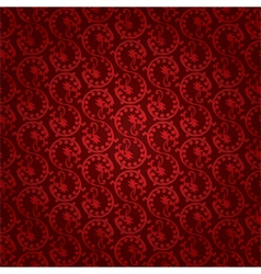 Red vintage floral seamless pattern vector image vector image