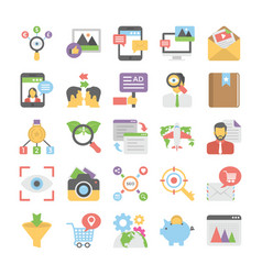 seo and digital marketing colored icons 11 vector image vector image