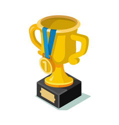 trophy icon with number one vector image