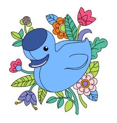 cartoon blue duck vector image
