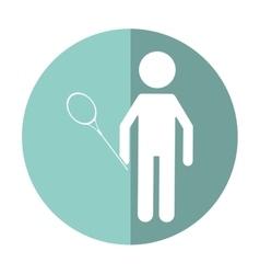character badminton player racket shadow vector image