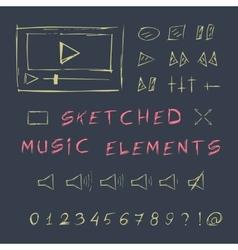 Doodle hand drawn music elements set sketch vector image vector image