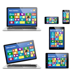 Electronic Devices with Metro Icons vector image vector image