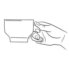 female hand holding a coffee mug on white backgrou vector image