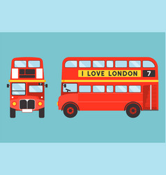 red double-decker bus icon front and side view vector image