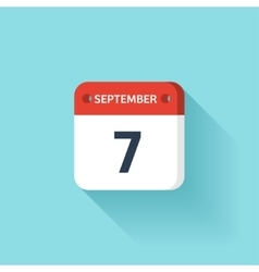 September 7 isometric calendar icon with shadow vector