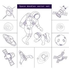 Space doodle elements line set vector image