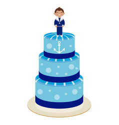 communion cake for boy vector image vector image