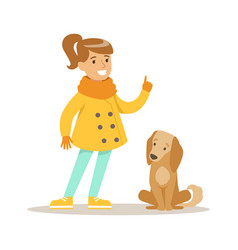 cute smiling girl walking with her dog outdoor vector image vector image