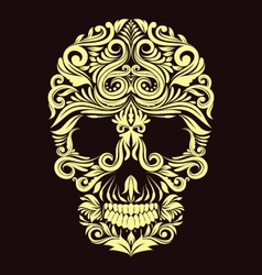Dark Brown Ornament Skull vector image