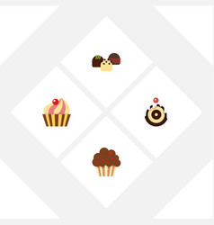 Flat cake set of pastry cake muffin and other vector