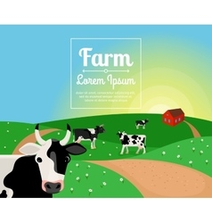 Rural or farm landscape with cows vector image vector image