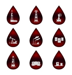 Set of icons in the oil droplets vector image vector image